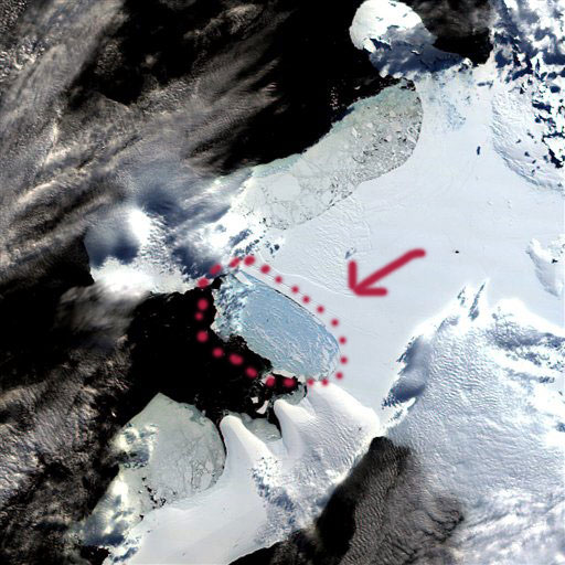 Image satellite rassemblée par le Centre national de la neige et de la glace de l'Université du Colorado (Nasa/AP).