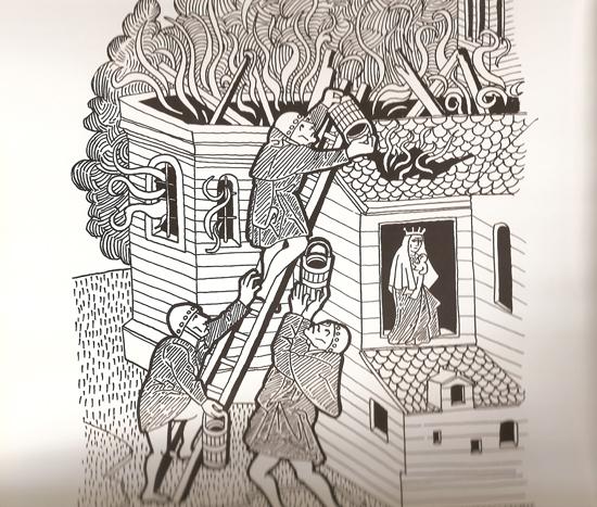 moines - lutte incendie moyen-âge