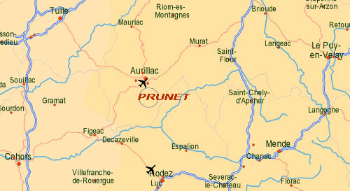 localisation Prunet - 15130 Cantal