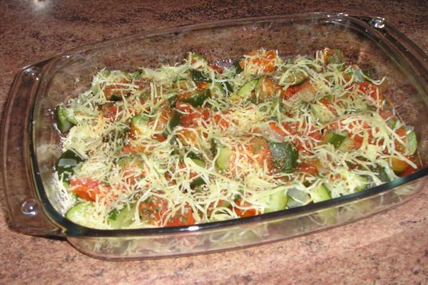 Gratin léger de courgettes et tomates