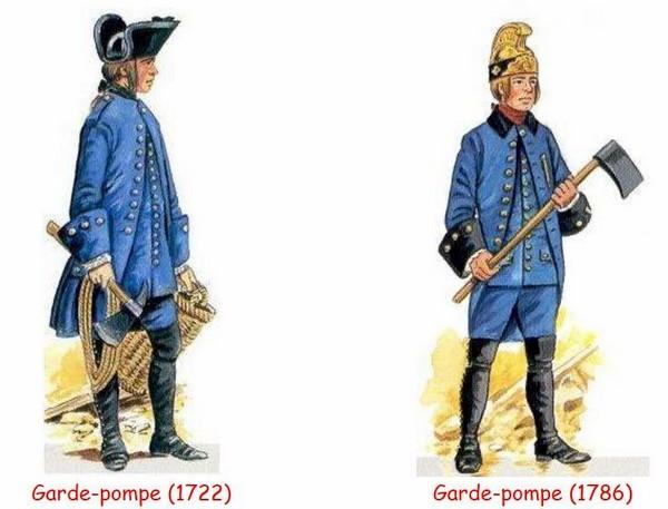 Uniformes pompiers du 18e siècle