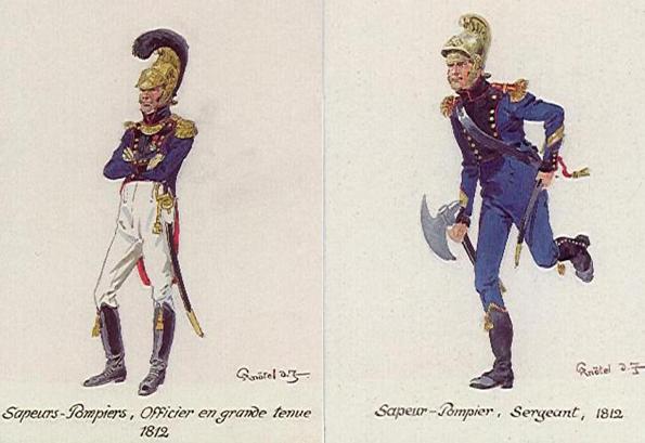 Sapeurs pompiers officier et sergent en 1812