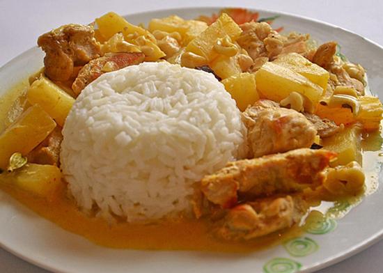 Poulet curry ananas et lait de coco