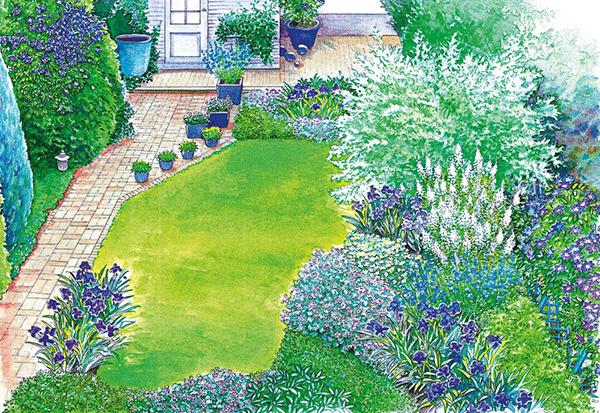 Modèle petit jardin bleu