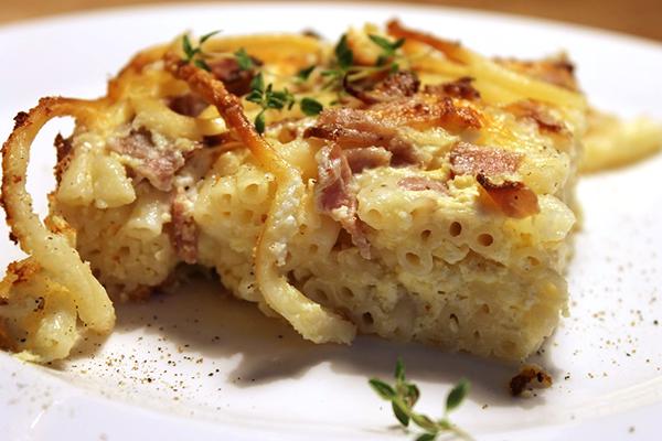 Gâteau de macaronis longs au jambon