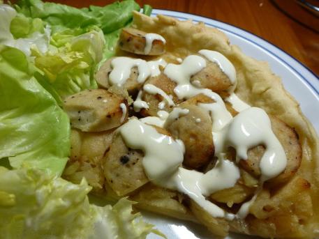 Tarte boudin blanc pommes de terre et crème moutarde