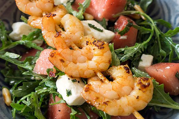 salade de pastèque, crevettes et feta