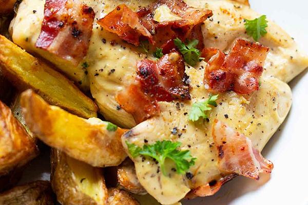Poulet sauce moutarde miel et bacon