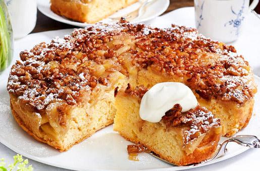 Gâteau renversé pommes noix caramelisées