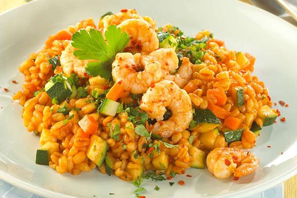 Risotto aux légumes et crevettes