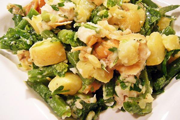 Salade de PDT haricots verts et haddock