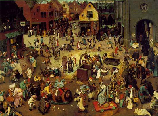 """""""La lutte de Carême et de Mardi gras""""  : tableau de Pierre Bruegel (dit l'Ancien) peintre flamand ( vers 1525/1530 Bruxelles )"""